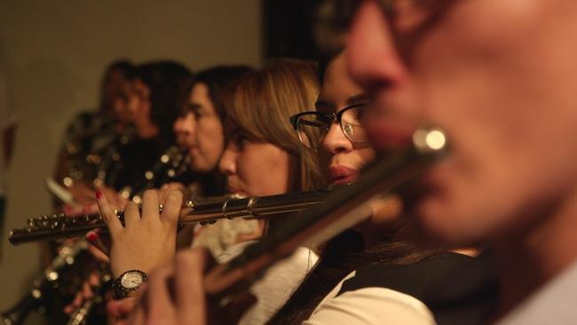 Miembros de la antigua banda escolar de Aibonito, durante el Concierto Caravana Cultural.