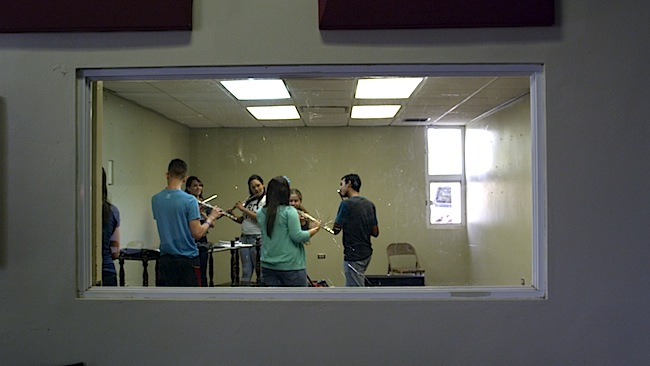 Members of the former band of Aibonito during rehearsal.