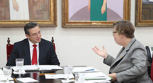 Governor Alejandro García Padilla meeting with Judith Enck in Puerto Rico.