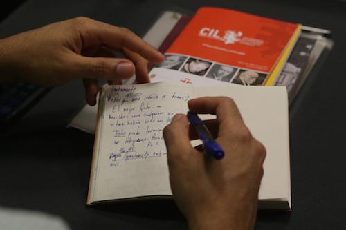 Anotaciones en la libreta de un participante del taller