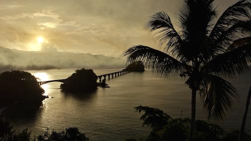 Arroyo Barril es un poblado rural y costero, de clase trabajadora, situado en la Provincia de Samaná, al norte de la República Dominicana. La zona es rica en tesoros naturales como la Bahía de Samaná, santuario mundial para las ballenas jorobadas. En la foto, el puente peatonal de Santa Bárbara de Samaná.