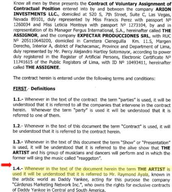 """Contrato entre Arion Investments y Expectar Producciones, en el que se hace referencia a contrario previo existente entre Arion y """"El artista"""", Daddy Yankee."""